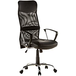 hjh OFFICE 668010 ARTON 20 Silla de oficina, en malla / piel sintética negro cromado