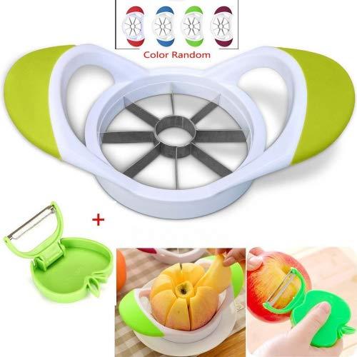 8-blades Apple cortador descorazonador–sol Run Extra afiladas, fabricadas en acero, cuchillas de Apple con Free plegable pelador, color blanco