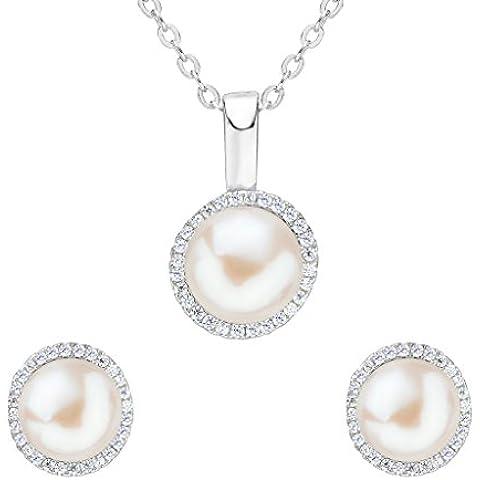 EleQueen argento 925 CZ pulsante AAA Crema coltivata d'acqua dolce perla rotonda Ciondolo nuziale orecchini set collana