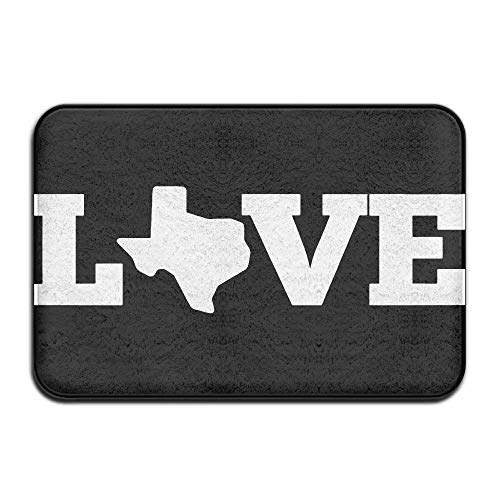 ewtretr Love Texas Texas Map Indoor/Outdoor Door Mat Rug 23.6
