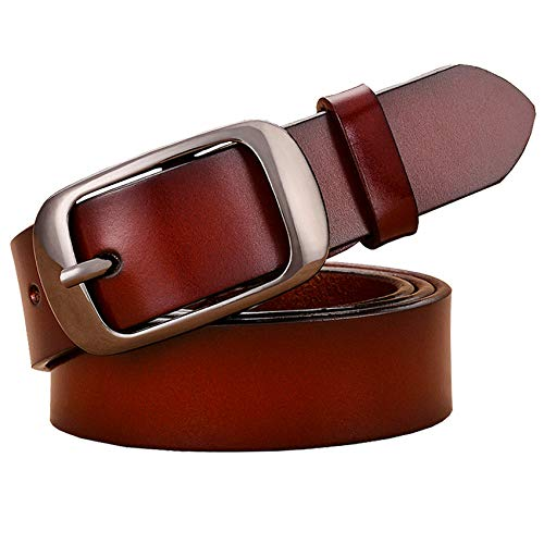 HIWSSH El cinturón-Fashion Genuine Leather Belts For Women High Quality Pin Buckle Thin Woman Belt Good Second Layer Cowskin Jeans Strap Female Brown 90cm