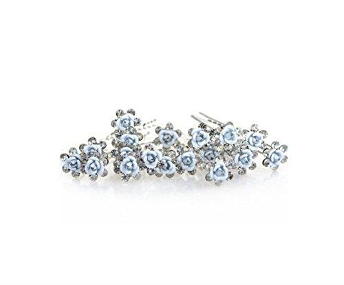 Accessoires cheveux coiffure mariage 1 lot de 10 épingles à chignon fleurs à strass bleu clair