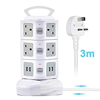 Power Strip Tower Extension Lead with USB Slots, GLCON Surge Protector Vertical Socket, 3M/9.8ft 10 Way Outlets with 4 USB Ports Electric UK Plug Safety Door. (white-1pack)