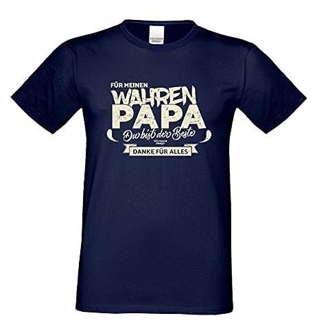 Herren T-Shirt Vatertagsgeschenk Geburtstagsgeschenk :-: Für meinen wahren Papa :-: Geschenkidee für Ihren Adoptivvater Stiefvater Geburtstag Vatertag Weihnachten Farbe: navy-blau Gr: L