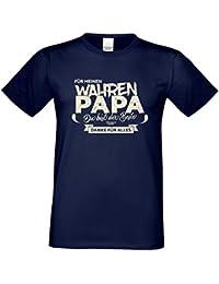Herren T-Shirt Vatertagsgeschenk Geburtstagsgeschenk :-: Für meinen wahren Papa :-: Geschenkidee für Ihren Adoptivvater Stiefvater Geburtstag Vatertag Weihnachten Farbe: navy-blau