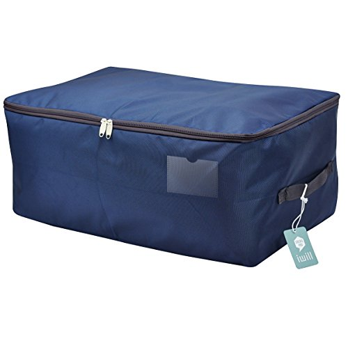 iwill createpro 25.5x15x11 inches, Jumbo Size Waterproof Storage Bag for Seasonal Clothes, Soft Dust Proof Organization Container on Shelf/Attic/Underbed Use, Navy Blue