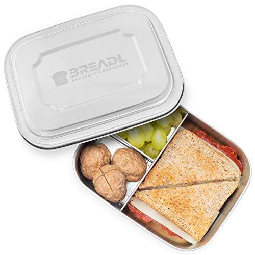 (BREADL Edelstahl Brot-Dose & Lunch-Box für Kinder und Erwachsene, 17 x 13 x 6 cm, 1000 ml, Plastikfrei, BPA-frei, Trennwand und Unterteilung in 3 Fächer, Rostfrei, Spülmaschinenfest und Nachhaltig)