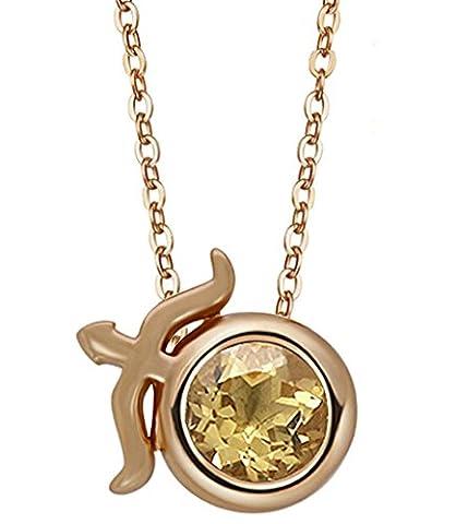 BeyDoDo Modeschmuck 925 Sterling Silber Damen Halskette Anhänger Zirkonia 12 Konstellation Zodiac Schütze Rosegold Gelb (Zodiac Tasche)