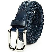 TINERS Cinturón Tejido De Cuero Genuino para Hombres Y Mujeres Tela De Estiramiento Salvaje Salvaje Tejido Elástico Pin Hebilla De Cinturón,105Cm