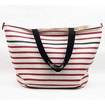 Große Tasche aus rot und schwarz gestreiftem Canvas, Innentaschen, ideal für Strand, Wochenende oder Shopping