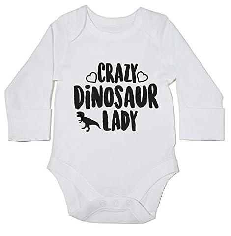 hippowarehouse Crazy Dinosaurier Lady Baby Body (Langarm) Jungen Mädchen Gr.