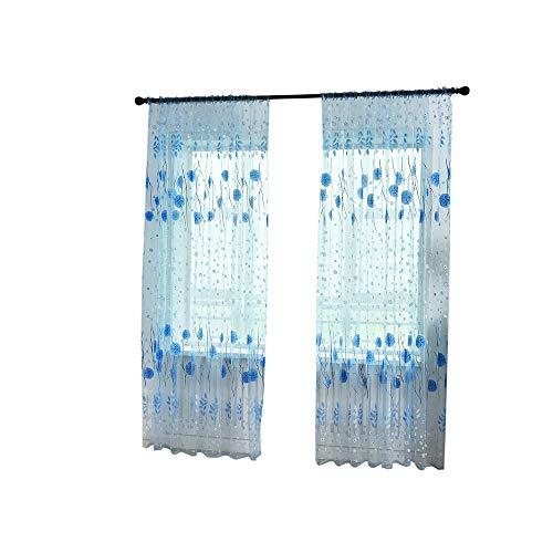 wyxhkj Dekorativ Blätter-Muster Transparent Gardine Gaze paarig Ösenschals Fensterschal Vorhänge für Wohnzimmer Schlafzimmer (Blau) (Dekorative Vorhänge Für Schlafzimmer)