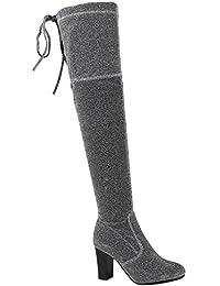 Damen Stiefel | Overknees Wildleder-Optik | Blockabsatz Schuhe | Langschaftstiefel Boots | Schleifen | Flandell®