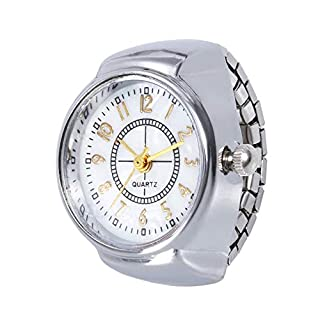 ICNCVKX Ring Platin Frauen Dial Quartz Analog Watch Creative Steel Cool Elastic Quartz Finger Ring Watch Packring Ehering Verlobung Weihnachtsweinlesering
