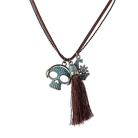 Gudeke Vintage Doppel- Strang-Halskette mit Skull Hirnschädel Anker Form Garn Troddel Quaste Anhänger Leder Seil Kupferlegierung für (Halskette Doppel-strang-halskette)
