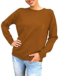 Monika_Sudaderas Mujer Deportivas Cuello Redondo Joven Moda Manga Larga Casual Correas Camisetas de Deporte Sudadera Sweat