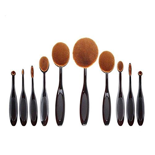 Maquita Kit 10pcs Outil de Maquillage Pinceaux en Forme de Brosse à Dents Outil Cosmétique Pinceau Oval de Maquillage pour Visage