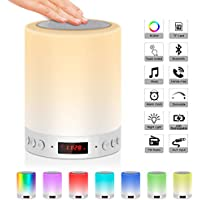 5 EN 1 Lampe de Chevet Tacile Rechargeable Portable,JOLVVN Lampe de Table Enceinte Bluetooth Musique USB FM Radio Réveil Numérique Lumière LED Multicolore Cadeau Hommes/Femmes/Enfants