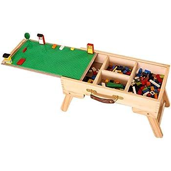 SZIVYSHI UK Store High Quality LEGO Compatible Storage Play Table Folding  Custom Made Wooden Kids Children SLFT Standard Chalkboard