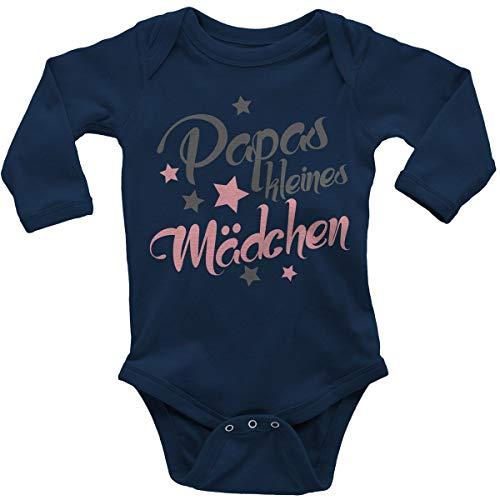 Mikalino Babybody mit Spruch für Mädchen Unisex Langarm Papas kleines Mädchen | handbedruckt in Deutschland | Handmade with Love, Farbe:Navy, - Vater Baby Kostüm