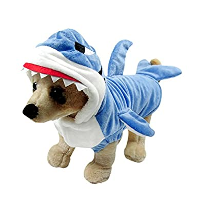 Soft Hooded Pet Costume Dog Cat Adorable Coat Shark Pumpkin Design Clothes for Small Puppy Christmas Gift
