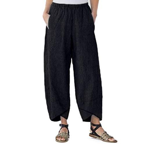 mounter- Damen-Hose, Weite Beine, hohe Elastikbund, knöchellang, Baumwolle, Leinen, lose Freizeithose Gr. Medium, Schwarz -