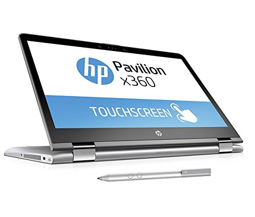 HP Pavilion x360 14-ba026ng (14 Zoll FHD Touchscreen) Convertible Notebook (Intel Core i3-7100U, 8GB RAM, 256GB SSD, Intel HD-Grafikkarte 620, Windows 10 Home 64) silber