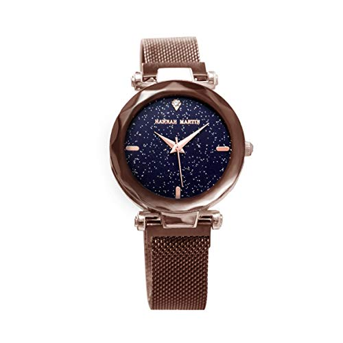 Damen Uhren, L'ananas Frauen Mode Diamant schneiden Sternenhimmel Zifferblatt Mesh Riemen Armband Armbanduhr Bracelet Women Watches (Karamell)