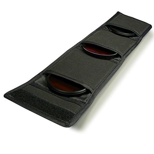 Tasche mit 3 Fächern für 25-82mm. CPL UV ND FLD Farbfilter, Objektivdeckel, usw.
