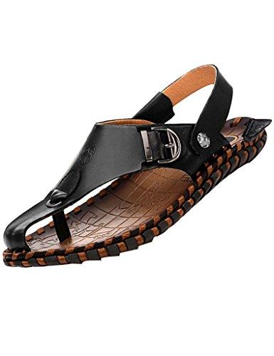 Youlee Herren Peep-Toe-Strandschuhe Leder Sandalen für Den Sommer Schwarz EU 42/Ch 43 (Fashion Leder Sandale)