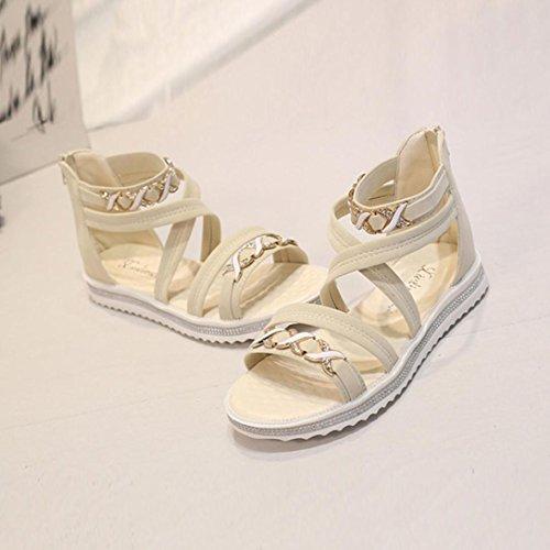 OHQ Mesdames Ouvert Orteil avec des Sandales Plates Noir Beige Femmes Chaussures DÉté en Cuir Souple Loisirs Dames Femmes Chaudes Montantes Isotoner Beige