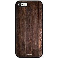 Smartcase Coque + Verre Trempé pour iPhone 5/5S/SE Motif Bois Foncé