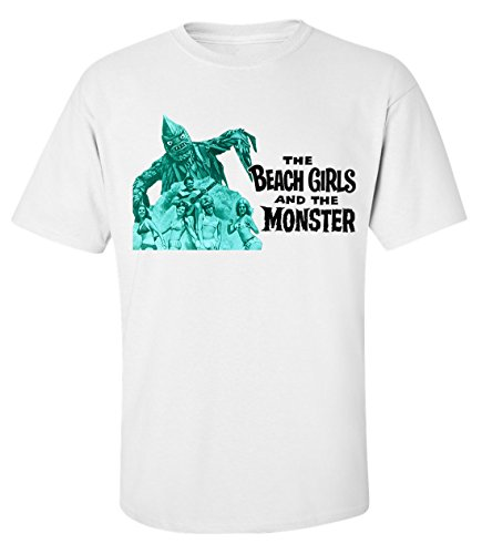 The beach girls and the monster vintage movie dope t-shirt homme blanc coton (S)