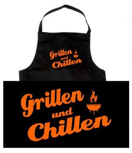 Preisvergleich Produktbild Coole-Fun-T-Shirts Herren Grillschürze GRILLEN und CHILLEN - grillen - BBQ GRILLSPORT,  schwarz,  10473