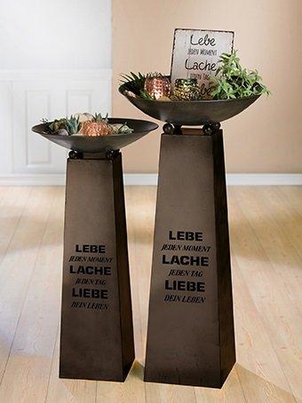 """Gilde Metall Schalenständer zu 68013 dunkelbraun, konisch, Weisheit \""""Lebe\"""" Länge 27 cm Breite 27 cm Höhe 93 cm 86228"""