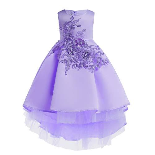 Livoral Mädchen Schönheit Kleid Blume Baby Prinzessin Brautjungfer Kleid Geburtstagsfeier Hochzeitskleid(Lila,150) -