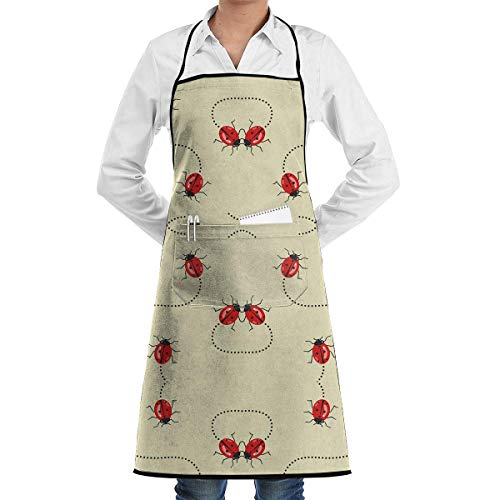 VAICR Kochschürze Küchenschürze,Apron Bib Lady Bugs On The Move Chef Apron with Bib Apron Kitchen Apron Adjustable Extra Long Ties for Women&Men BBQ Baking and Cooking-Black,Easy to Clean