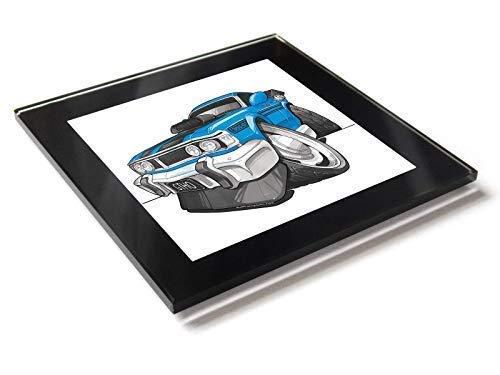 Koolart Cartoon Auto Ford XY Falcon Gt Glas Tisch Untersetzer mit Geschenk-Box - Blau, 10cm x 10cm -