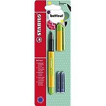 Stabilo becrazy. Bolígrafo de punta redonda con 3cartuchos de tinta azul–Sunny amarillo/Apple verde