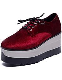 Frauen-Oxfords-Plattform-Müßiggänger-Schuhe Frühlings-Flock-Creeper-Ebenen  schnüren Sich Oben Runde Runde Zehe-Damen… 54c5a8a4ee