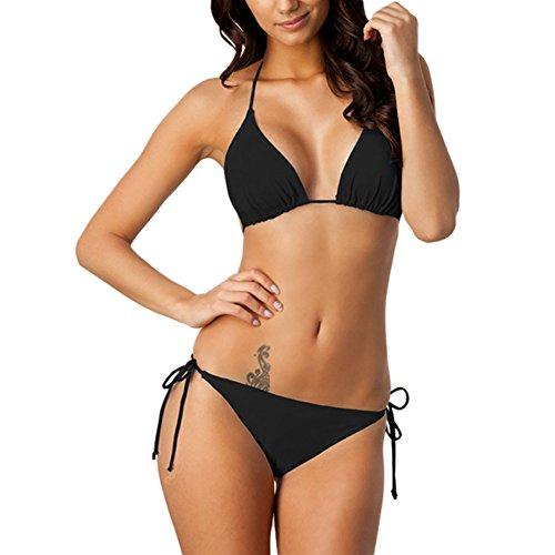 Meijunter Klassisch Damen Bikini Set Hochdrücken Gepolstert BH Bademode  Strand Badeanzug Unterwäsche Schwarz