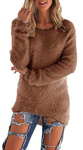 Donne Autunno Inverno Pullover Jumper Maglieria Irregolare Cime Delle Camicetta Maglie a Manica Lunga Orlo Sweater T-shirt Tops Marrone