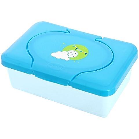 Promobo Box mit Reinigungstüchern, für Baby, Motiv Wolke und Sonne, Blau