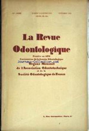 REVUE ODONTOLOGIQUE (LA) du 01/11/1945 -