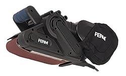 FERM Bandschleifer 950W - Variable einstellbare Bandgeschwindigkeit - Mit 2 Klemmen für Stationär gebrauch - Inkl. 3 Schleifbänder (P60, P80 und P120) und Staubfangsack