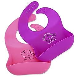 ¡Babero impermeable de silicona que se limpia fácilmente! ¡Cómodos baberos flexible que evitan las manchas! ¡Pasa menos tiempo limpiando después de las comidas con bebés o niños pequeños! Par de 2 colores (rosa / púrpura)