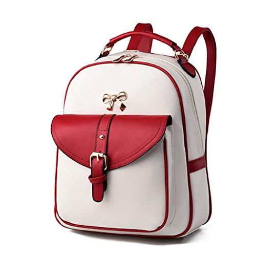 Zaino scolastico dello zaino del sacchetto di viaggio della spalla della cartella di cuoio di modo delle donne Bianco&Rosso
