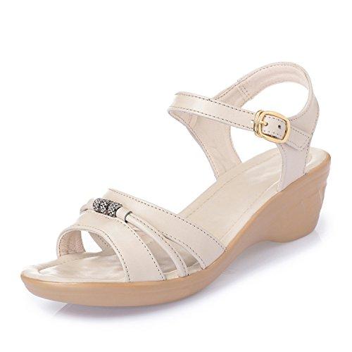 XY&GK Sommer die Ferse Frauen Sommer Sandalen Leder Damen Sandalen Ferse  Damen Sandalen Freizeitaktivitäten Big'S Yards