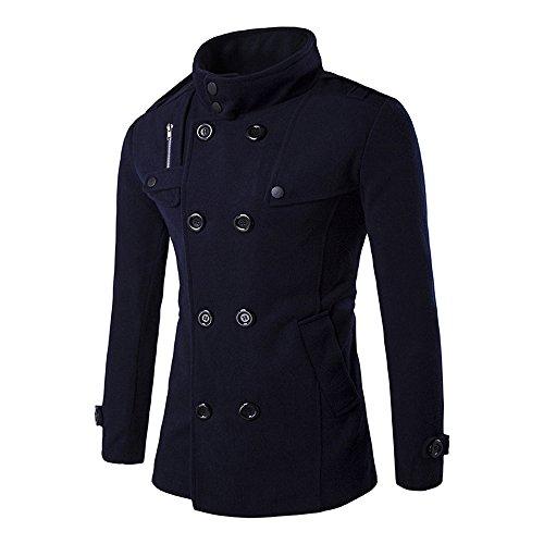 Beikoard scarpe camicia da uomo in maglia a collo alto con collo a bottone in lana a doppia fila autunno inverno(navy,l)