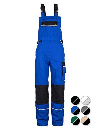 TMG® Komfortable Herren Latzhose | Männer Arbeitslatzhose mit Reflektoren und Taschen für Kniepolster | Blaumann für Sanitär, Metallbau | Blau 60